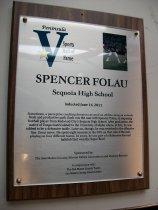 Image of Spencer Folau Plaque