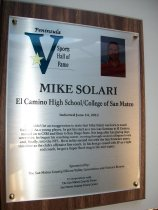 Image of Mike Solari Sports Hall of Fame Plaque