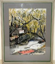 Image of Belmont Creek Painting by R.G. Hulstede, 1955