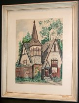 """Image of 1989.355 - Water Color Painting of Hillbarn Theater by R. Hulstede. Building is white with brown wood at lower level. The front porch had three steps and railing leading up to the small landing in front of the door. Just left of door is a tall steeple, and on either side are two perpendicularly facing steep roofs. There is shrubbery at front of the building and tress in the background. To the right of the door is a sign that says """"HILLBARN  /  MOVE TO  /  CARLMONT  /  SHOPPING  /  CENTER  /  SEPT.""""  Water color is in a vertical format, mounted behind a white matt, under glass, in a white, wooden frame.    Taped on back with gold tape with a green design is a newspaper clipping advertising """"Spufford"""" a modern comedy by Peter De Vries opening the 1970-71 season on October 17th."""