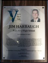 Image of Jim Harbaugh Peninsula Sports Hall of Fame Plaque