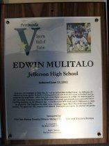 Image of Edwin Mulitalo Peninsula Sports Hall of Fame Plaque