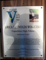 Image of Erica Reynolds Woliczko Peninsula Sports Hall of Fame Plaque