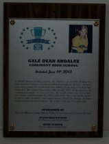"Image of 2013.025.001 - 2013 Gale Dean Andaluz Sports Hall of Fame Plaque.  Wood and acrylic plaque commemorating Gale Dean Andaluz of Carlmont High School who was inducted into the Peninsula Sports Hall of Fame on June 11, 2013.  Plaque includes image of Andaluz and a brief biography:  ""A softball pioneer in many respects, she helped to set the lofty pitching standards that have become a Carlmont hallmark through the decades.  After her prep career ended, she received the first softball scholarship to San Jose State University.  She pitched there from 1986 through 1989.  In the process, she established a number of career records.  She is still number one on the Spartans' all-time complete-games list, with a total of 94.  She is among the top five in fewest walks permitted, wins, appearances, earned run average, shutouts, innings pitched and games started.  She is also in the top 10 in strikeouts."" Plaque and induction was sponsored by The San Mateo County/Silicon Valley Convention and Visitors Bureau in cooperation with San Mateo County Event Center and Media Sponsor The San Mateo County Times. Silver-colored plaque is mounted under acrylic onto a laminated wooden board by four decorative brass-colored screws and washers. Color image of Andaluz is in the upper right hand corner and Hall of Fame logo is in the upper left corner."