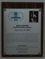 Image of 2013 Bill Royer Sports Hall of Fame Plaque