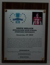 Image of 2013 Drew Shiller Sports Hall of Fame Plaque