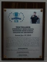 Image of 2013 Ted Tollner Sports Hall of Fame Plaque