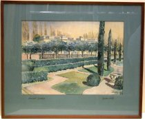 Image of 0000.617.003 - Newhall Estate by Galen Wolf, n.d.   Watercolor on paper, mounted under glass beneath an aqua-green colored mat inside a brown stained wooden frame.  Image depicts estate grounds consisting of multiple lawns and walkways lined by Cyprus trees, two rows of shrubs, and a row of broad leafed trees all in front of a low wall.   The wall sits in front of a large building which is mostly blocked from view by the trees.  Two chimney tops are visible along the roof line.  To the right of the image is a large pot or basket and a corner of a pool is visible.