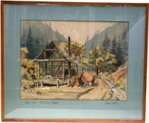 Image of 0000.836 - Hatch Mill-Purisima Canyon by Galen Wolf, n.d..  Watercolor on paper; mounted under glass beneath an aqua-green colored mat inside a brown stained wooden frame.  Image depicts a wooden deck with a frame of a building and a sloped roof with a chimney extending from the back.  There is a tree stump in front and to the right of the building next to a cylindrical object on its side alongside a road leading back to trees and a hillside in the background. There are broad leafed trees in yellow, gold and red near the building, while tall evergreens are in the hills in the background.