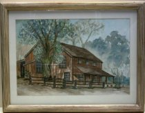 Image of 2006.251 - Woodside Store Watercolor by Jack Sanders, 1993.  Watercolor on paper is mounted under glass beneath a white paper mat inside a gold painted wooden frame with curved linear ribbing along front.  Image depicts left corner view of the store with a fence and tree in the foreground and grees in the background.  building is red with vertical boards on face and horizontal boards on roof.