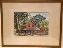 Image of 1950 Watercolor of the Woodside Store by Lore Doremeyer