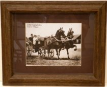 Image of Lurline Roth Driving Carriage Led by Seaton Wake Robin and Seaton Mikado by