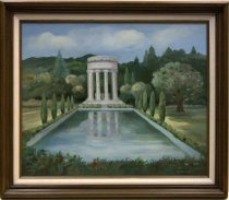 Image of 1987.039 - Pulgas Water Temple by Elizabeth Cassidy, 1937.  Oil on canvas mounted inside a brown painted faux-stained wooden frame with a white linen cloth inner border.  Image depicts a rectangular pool surrounded by flowers and cypress trees.  At end of pool is a round temple that consists of stairs, Corinthian columns and a round top.  There is a hillside with trees in the background and grass on either side of the pool.