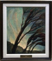 "Image of 1987.042.001 - Windy Dawn by Helen Graff.  Oil on canvas mounted inside a dark brown stained wooden frame with a wide white linen cloth inner border.  Engraved brass plaque mounted to frame bottom over white linen reads, ""FRED GELLERT FOUNDATION  /  COLLECTION OF SAN MATEO COUNTY SCENES  /  HELEN GRAFF  /  WINDY DAWN  /  PRESENTED BY ART-RISE 1986.""  Image depicts six trees whose trunks and branches tilted at an angle to the right.  Foliage is abstract in greens, yellows and pinks.  There is grassy-like shrubbery at base of trees and sky is painted in pinks, yellows and blues."