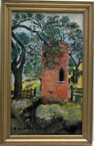 Image of 1998.063 - 1954 Frenchmans Tower Palo Alto by Ruth Hulstede.  Oil on canvas inside a gold-painted wooden frame.  Image depicts a round brick tower with two arched windows.  Tower sits in a field next to a fence and under an oak tree.  A road with more fencing and trees can be seen in the background.