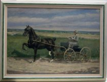 "Image of 2009.003 - 1926 Painting of Lurline Roth Driving a Single-Horse-Drawn Carriage by Harris.  Oil painting on canvas mounted inside a beige colored painted wooden frame with a green colored central border and a 1"" linen interior mat.  Image depicts Lurline Roth wearing a gray dress with a white lace shirt with a lace collar and broach and a low-billed hat with a blue ribbon.  She is holding reins and a horse whip and is sitting inside a black single-seat topless carriage or buggy with gray rubber wheels.  Carriage is led by a single black horse with white back feet who's front right and back left feet are lifted as if he is mid-motion.  They are riding on a dirt road and there is a green grassy field in the background."