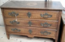 Image of 2012.015.002 - Late 18th Century/Early 19th Century Continental (probably Austrian) Neoclassical three-drawer Chest with paneled sides  and parquetry.  Walnut with various fruitwood inlay.