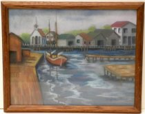 Image of Oil Pastel painting of Redwood Harbor by Marjorie Fried