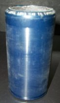 "Image of 2013.036.010 - c. 1914 Edison Blue Amberol Cylinder ""It's a long, long way to tipperary"" by Albert Farrington & Chorus is cylindrical in shape with a hollow center, made of celluloid plastic, and is blue in color. The outer edges (1/2"" each end) are smooth, while the center of the cylinder is rough/ridged. The song title is written on one end. The inside is lined with plaster of paris and is ribbed."