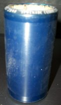 "Image of 2013.036.012 - c. 1916 Edison Blue Amberol Cylinder ""Serenade (Cornet Solo with Orch) "" by Ernst Albert Couturier is cylindrical in shape with a hollow center, made of celluloid plastic, and is blue in color. The outer edges (1/2"" each end) are smooth, while the center of the cylinder is rough/ridged. The song title is written on one end. The inside is lined with plaster of paris and is ribbed."