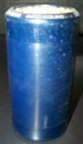 "Image of 2013.036.013 - c. 1916 Edison Blue Amberol Cylinder ""Hapa Haole Hula Girl (Guitar Duet)"" by Helen Louise & Palakiko Ferreira (aka Frank Ferera) is cylindrical in shape with a hollow center, made of celluloid plastic, and is blue in color. The outer edges (1/2"" each end) are smooth, while the center of the cylinder is rough/ridged. The song title is written on one end. The inside is lined with plaster of paris and is ribbed."