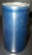 "Image of 2013.036.015 - c. 1915 Edison Blue Amberol Cylinder ""California and You"" by Billy Murray & Chorus is cylindrical in shape with a hollow center, made of celluloid plastic, and is blue in color. The outer edges (1/2"" each end) are smooth, while the center of the cylinder is rough/ridged. The song title is written on one end. The inside is lined with plaster of paris and is ribbed."