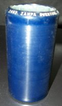 "Image of 2013.036.020 - c. 1914 Edison Blue Amberol Cylinder ""Zampa Overture"" by Edison Concert Band is cylindrical in shape with a hollow center, made of celluloid plastic, and is blue in color. The outer edges (1/2"" each end) are smooth, while the center of the cylinder is rough/ridged. The song title is written on one end. The inside is lined with plaster of paris and is ribbed."