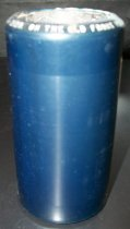 """Image of 2013.036.033 - c. 1914 Edison Blue Amberol Cylinder """"On The Old Front Porch"""" by Ada Jones and Billy Murray is cylindrical in shape with a hollow center, made of celluloid plastic, and is blue in color. The outer edges (1/2"""" each end) are smooth, white the center of the cylinder is rough/ridged. The song title is written in white on one end. The inside is lined with blue/black plaster of paris and is ribbed."""