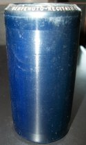 "Image of 2013.036.036 - c. 1916 Edison Blue Amberol Cylinder ""BENVENUTO-RECITATIF ET ARIOSO"" by Orphee Langevin is cylindrical in shape with a hollow center, made of celluloid plastic, and is dark blue/black in color. The outer edges (1/2"" each end) are smooth, white the center of the cylinder is rough/ridged. The song title is written in white on one end. The inside is lined with dark blue/black plaster of paris and is ribbed."