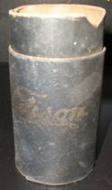 "Image of 2013.036.042 - c. 1912 Edison Blue Amberol Cylinder case is made of cardboard with blue faux-leather paper on the outside. There is an inner tube that extends about an inch above the outer tube. Outer tube has ""Edison"" written in gold cursive on one side. The base has a circular insert with a circular embossed stamp on it (unable to read it)."
