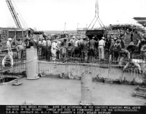 Image of 2013.040.003 - c. 1943 Belair Shipyard Concrete Dock Being Poured