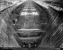 Image of 2013.040.011 - c. 1943 Belair Shipyard Looking Aft with Steel for the Bottom and Side Shell in Place
