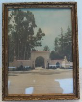 "Image of 2014.004.005 - 1927 photograph of Sequoia High School Corner entrance presented to Ruth Barrett.  Color photograph is mounted inside a gold-painted wooden frame with carved front edges.  Image depicts the Mission-style corner entrance of Sequoia High School on Broadway Street in Redwood City.  The structure has an arched walkway, a red tiled roof and lanterns on either side of the walkway and at the ends of the roofed sections.  ""SEQUOIA HIGH SCHOOL"" is written in gold letters above arched walkway.  A paved street is visible in the foreground and there are eucalyptus and redwood trees in the background.  An inscription in black ink on back reads, ""To Ruth Barrett--  /  Presented by the Essay Committee  /  on 'Forest Preservation'  /  Sequoia Union High School  /  Nov. 29, 1927."""
