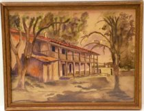 "Image of 2109 - The Adobe, n.d.  Small watercolor painting entitled ""The Adobe.""  Watercolor on paper is mounted behind glass inside a gold-colored painted wooden frame with a recessed inner border.  Image depicts the Sanchez Adobe before it was restored.  It is an angled view of the front of the adobe with the addition on the left.  Building has brown railing on the second level, is white and has a red tiled roof.  There is grass and trees out front."