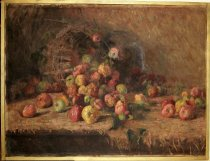 Image of 0002.116 - Apples by Sybil Easterday, n.d..  Oil on canvas mounted inside a plain gold-painted wooden frame.  Image depicts a brown open-weave basket laying on its side with red, yellow and green apples spilling out onto a brown-colored fringed tablecloth that sits on a brown table.