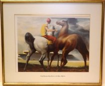 """Image of 2014.027.002 - """"Early Morning at Bay Meadows, San Mateo California"""" print on paper of a painting.  Print is mounted behind glass beneath a white mat inside a painted gold-colored plain wooden frame.  Image depicts a man wearing red pants and helmet and a yellow shirt riding a white horse, left, exercising a brown horse, right.  They appear to be on the dirt racetrack and there is a gray cloudy sky above.  Title is printed on center of mat below image."""
