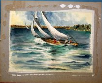 Image of Watercolor painting Chasue Coming back from Alcatraz by B. Bradley