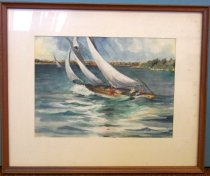 Image of 2014.012.002A - Watercolor painting Chasue Coming back from Alcatraz by B. Bradley. Watercolor on paper (A) was mounted under glass beneath a white colored mat inside a lightly stained wooden frame (B-frame removed 6/10/2014). Image depicts Charles Parsons' white yacht with three large white sails in full sail. They are two figures inside the boat, a male steering a female passenger. The boat has wooden detail on top. It is sailing toward the left side of the painting. There is land and one other sail boat in the background. The foreground shows turbulent water.  Part of the Charles Parsons collection.