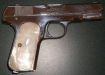 Image of SMCSO Pearl-handled Colt .32 ACP Pocket Hammerless Automatic Pistol, c. 192