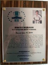 Image of Brett Barron Peninsula Sports Hall of Fame Plaque, 2014