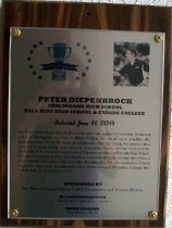 Image of Peter Diepenbrock Peninsula Sports Hall of Fame Plaque