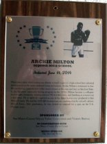 Image of Archie Milton Peninsula Sports Hall of Fame Plaque, 2014.