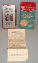 "Image of 2014.021.002 - Magic Brain Calculator, c. 1950-1969, includes calculator (A), stylus (B), instructions for use (C) and original box (D).  Calculator (A) is a durable red plastic with a tin metal plate mounted to the top by six small circular rivets.  Printed on tin plate is ""Chadwick"" in red and ""MAGIC-BRAIN  /  CALCULATOR  /  + - x"" in black.  Below name are 8 open boxes with black rotating numbers on a white ground; numbers correspond to 8 vertical openings below with red-colored tin that is notched and slides up and down with use of stylus.  Steel metal stylus (B) is secured to right side of calculator by four extended plastic pieces.  At top of calculator is a steel wire bar that is curved at center, just above a small notch in the metal plate.  This is for a finger hold and when the bar is raised, all numbers in the white boxes revert back to zero.  ""Simplified Instructions … Printed in Japan"" (C) consist of a white piece of paper with black colored print on one side.  Heading of sheet include:  ""HOW TO CLEAR THE MACHINE,"" ""HOW TO ADD,"" ""HOW TO SUBTRACT,""  ""HOW TO MULTIPLY"" and ""AIDS DIVISION, TOO.""  Cardboard box (D) is red, blue and gold with white print and an image of the calculator on either side."