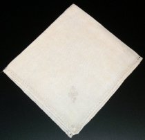 "Image of 2010.092.029A - Holbrook-Palmer Napkin, c. 1926-1958.  Cream-colored linen napkin with drawn thread work border in a diamond-shaped pattern.  Stylized ""P"" monogram is satin-stitched in cream-colored thread at bottom right corner."