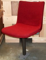 Image of 2013.037.002B - SLAC National Accelerator Laboratory auditorium chair is upholstered in a red wool fabric.  Swiveling chair has a single powder-coated, gray-colored steel leg with a rectangular base that bolts to the floor.  Bracket beneath seat allows it to slide forward and back.