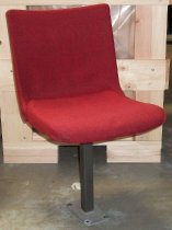 Image of 2013.037.002E - SLAC National Accelerator Laboratory auditorium chair is upholstered in a red wool fabric.  Swiveling chair has a single powder-coated, gray-colored steel leg with a rectangular base that bolts to the floor.  Bracket beneath seat allows it to slide forward and back.