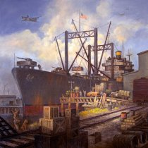 Image of Port of Redwood City during World War II by Fred Sinclair, Jr., 2015