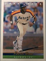 "Image of 2015.003.010 - Kevin Bass Baseball Card, 1993, Upper Deck card with Kevin Bass on the front wearing a white baseball uniform with blue, red, orange and yellow stripes running from both shoulders to the end of the sleeves.  He is wearing white pants with blue stripes, white shoes, blue and white wrist bands, and a dark blue batting helmet with a white ""H"" superimposed on a orange star.  He looks like he just hit a ball and is preparing to run, the baseball bat is near his feet.  The card has a white border and the top of the card reads ""UPPER DECK"" in white letters. Text on blue and green bars at the bottom of the card reads ""Kevin Bass"", ""Astros o OF"".  The back of the card has a headshot of Kevin wearing a white jersey with dark blue cap. Text describes his achievements and list statistics from 1982 to 1989. Also contains Upper Deck, MLB, MLBPA logos, an Upper Deck hologram and copyright information."