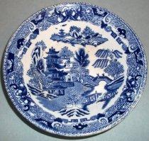 Image of Blue Willow Semi China Dessert Bowl, 1832
