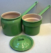 Image of Green Enamelware Double Boiler, c. 1930s